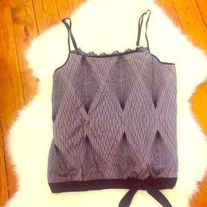 attention Gray & Black Geometric Tank Top Medium